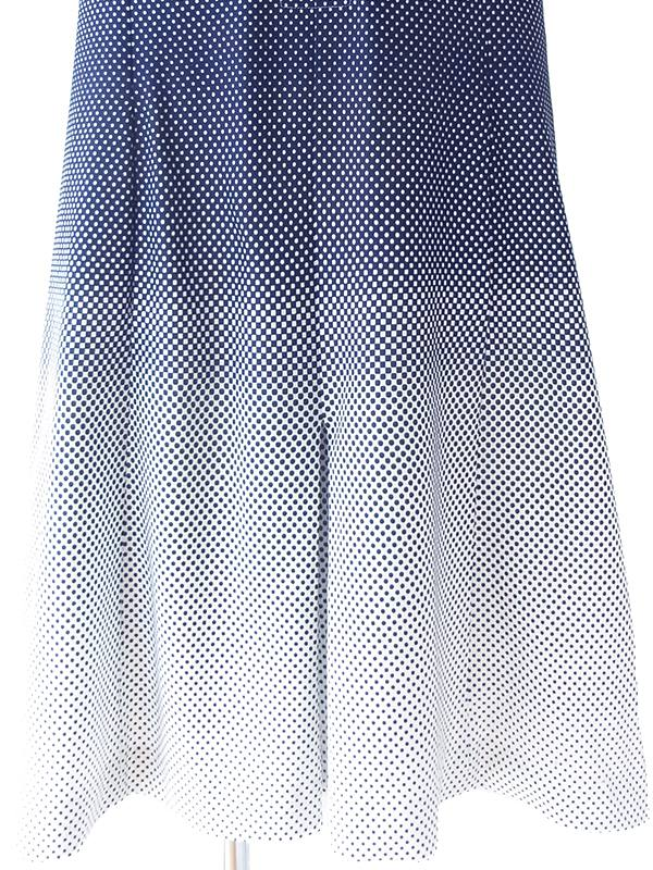 ヨーロッパ古着 ロンドン買い付け 70年代製 ホワイト X ブルー 水玉・ブロック レトロ ワンピース 18OM412